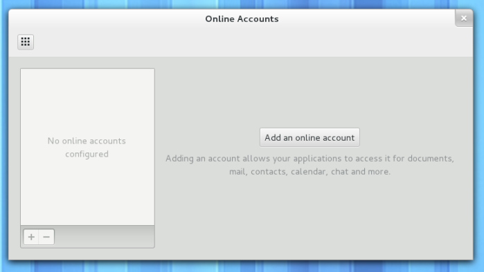 Empty Online Accounts panel