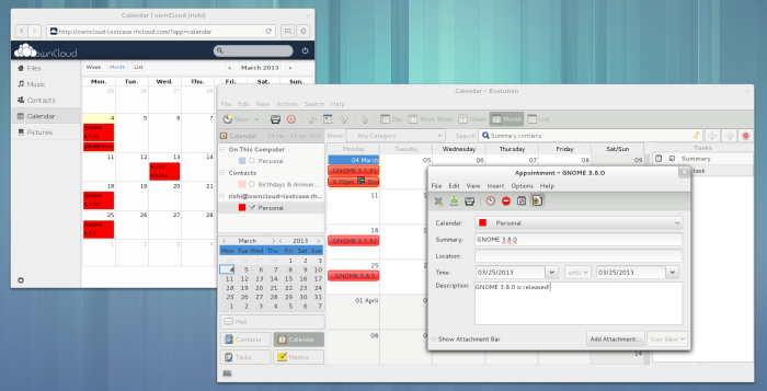ownCloud calendar in Evolution
